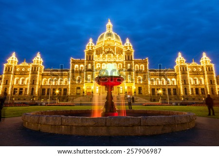 Night view of Parliament building in Victoria BC, Canada. - stock photo