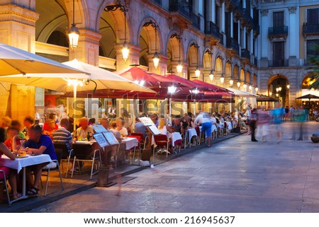 night view of Placa Reial  in summer. Barcelona - stock photo