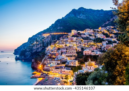 Night view of Positano village at Amalfi Coast, Italy. - stock photo