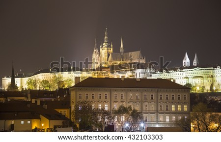 Night view of Prague, Czech Republic: river Vltava, Hradcany, castle and St. Vitus Cathedral  - stock photo