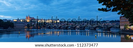 Night view of Prague -  river Vltava, Gradchany, St. Vitus's cathedral - stock photo
