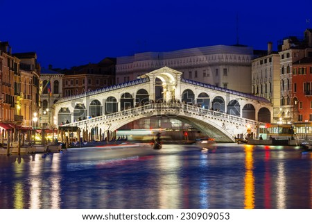 Night view of Rialto bridge and Grand Canal in Venice. Italy - stock photo