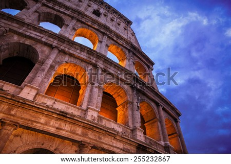 Night view of Roman Coliseum, Rome, Italy. - stock photo