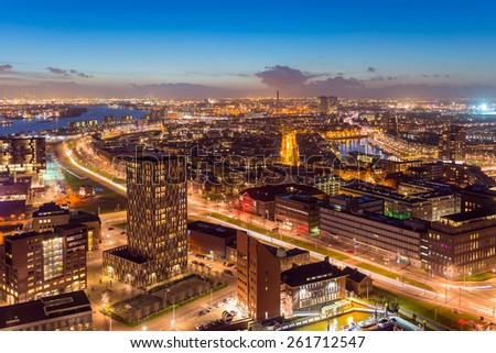 Night View of Rotterdam's Harbor from the Euromast Tower, the Netherlands. - stock photo