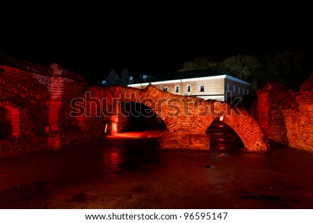 Night view of Ruins of Brest Fortress. Belarus. - stock photo