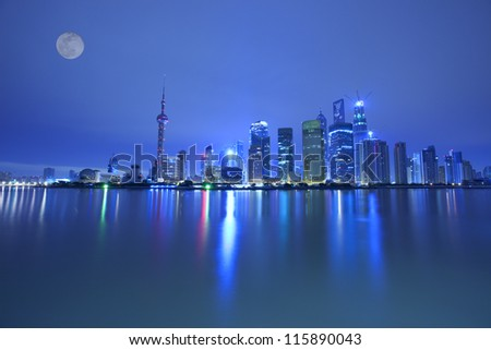 night view  of shanghai huangpu river,china - stock photo