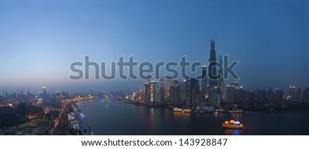 night view  of shanghai huangpu river,china - stock photo