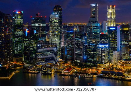 night view of Singapore downtown from above - stock photo