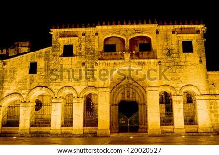 Night View of the Ancient Cathedral of Santa Maria la Menor in the Colonial Zone of Santo Domingo, Dominican Republic.  - stock photo