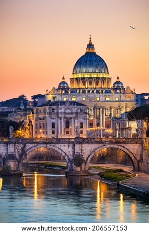 Night view of the Basilica St Peter in Rome, Italy - stock photo