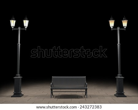 Night view of the bench and street light - stock photo