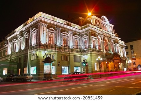 Night view of the Big Dramatic Theater in Saint Petersburg - stock photo