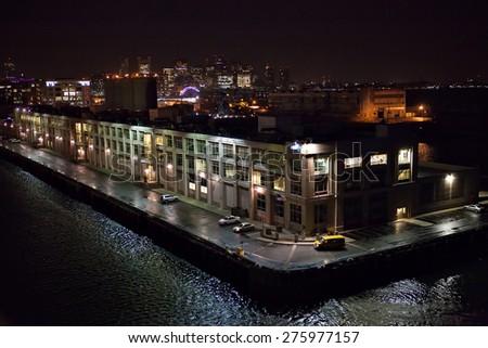 Night view of the Boston Massachusetts cruise port and city skyline. - stock photo