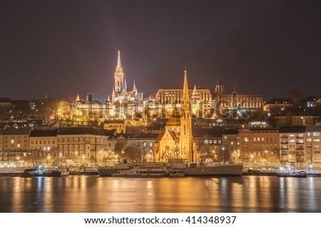 Night view of the Budapest, Hungary - stock photo