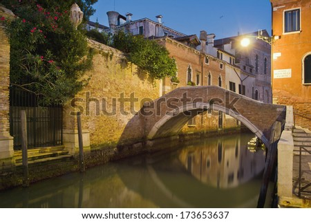 Night view of the canal. Long exposure photo. Venice, Italy. - stock photo