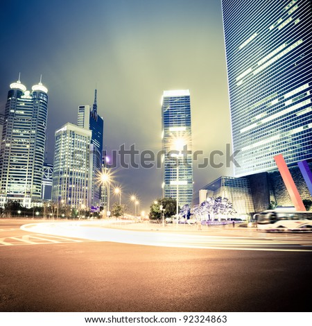 night view of the century avenue in shanghai,China - stock photo