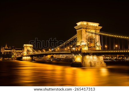 Night view of the Chain Bridge in Budapest - stock photo