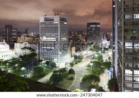 Night view of the city Sao Paulo, Valley Anhangabau - stock photo