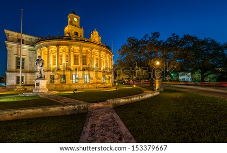 Night view of the Coral Gables City Hall in Miracle Mile. - stock photo