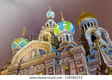Night view of the domes Savior on Spilled Blood. St. Petersburg, Russia - stock photo