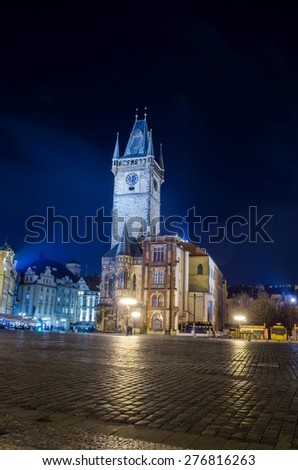 night view of the illuminated old town square / staromestske namesti in prague - stock photo