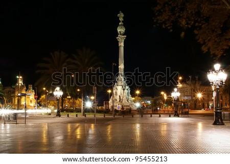Night view of the La Rambla. Catalonia, Spain - stock photo