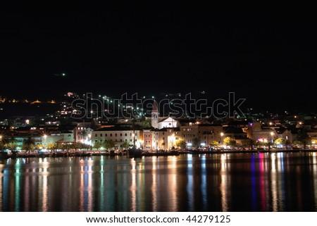 Night view of the Makarska shore in Croatia. - stock photo