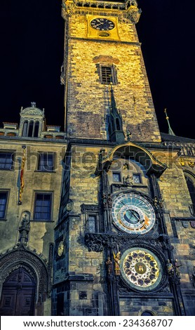 Night view of the medieval astronomical clock in the Old Town square in Prague - stock photo