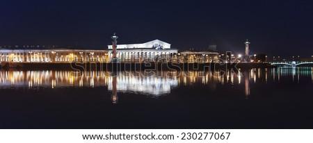 night view of the Neva river and Vasilievsky island. Saint-Petersburg - stock photo