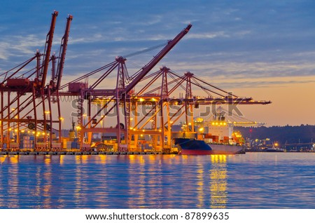 Night view of the quay port of Seattle, WA. - stock photo