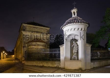 Night view of the Rotunda of Saint Martin situated inside of the grounds of Vysehrad Castle in Prague. Czech Republic - stock photo