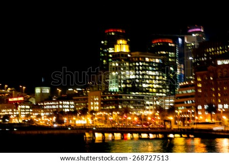 Night view of the San Francisco waterfront skyline with intentional motion blur. Abstract - stock photo