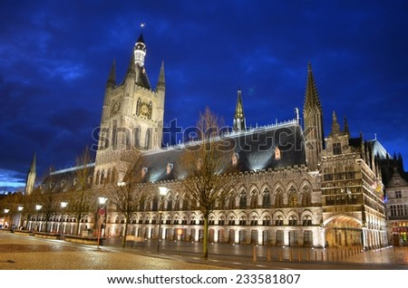 Night view of the town hall situated in the center of belgian city ieper/ypres - stock photo