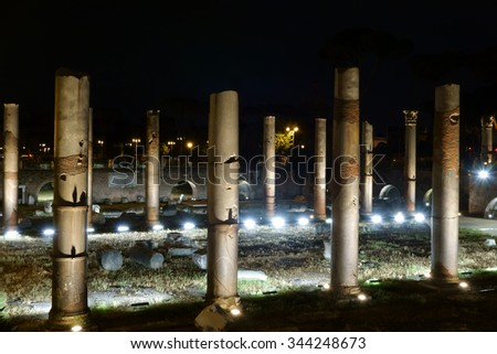 night view of the Trajan Forum with a special illumination in Rome, Italy - stock photo