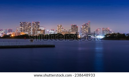 Night View of Tokyo Seen from Odaiba - stock photo