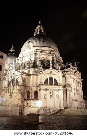 Night view of Venice the Salute church - stock photo