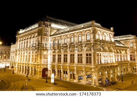 Night view of Vienna State Opera (Wiener Staatsoper) in Vienna, Austria. - stock photo