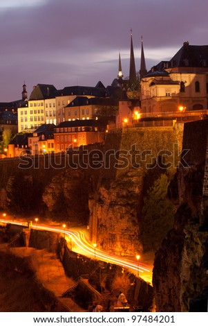 Night view of Ville Haute and city wall, Luxembourg City - stock photo