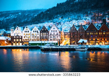 night view on Bruges. Bergen. Norway - stock photo