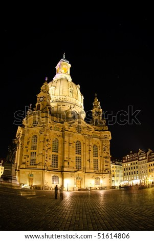 Night view on Dresden Frauenkirche (Church of Our Lady), Germany - stock photo
