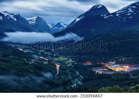 Night View On Norway Mountain LandscapeStranda, Norway - stock photo