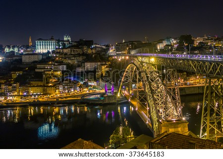 Night view on Porto, Portugal - stock photo