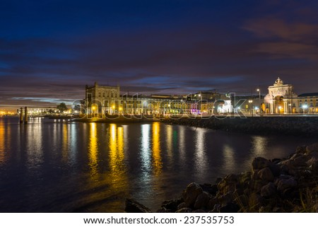 Night view on river Tejo and Commerce Square (Lisbon, Portugal) - stock photo