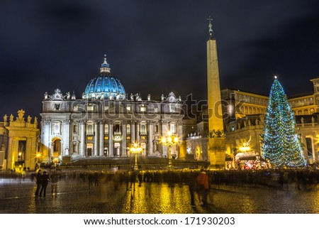 Night view on the St. Peter's Square and the St. Peter's Basilica and the obelisk from the Circus of Nero in Vatican City. Rome, Italy. - stock photo