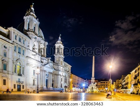 Night view over piazza navona in rome - stock photo
