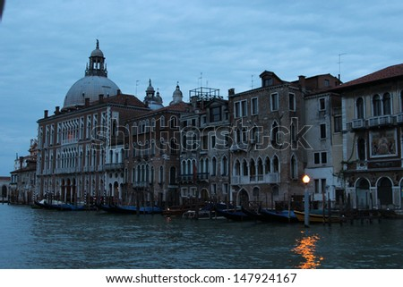 Night vision of Venice buildings - stock photo