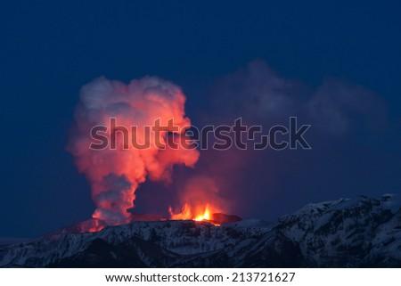 Night Volcano Eruption in Iceland - stock photo