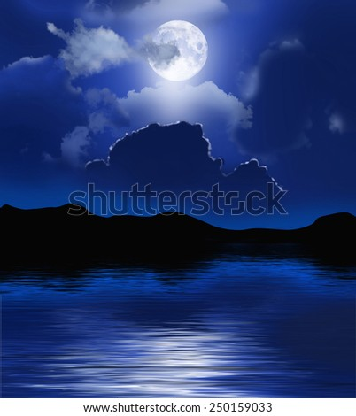 Night with moon and clouds over water. - stock photo