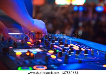 nightclub parties. DJ - stock photo
