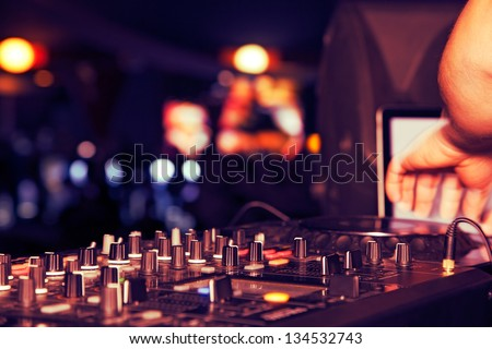nightclub parties DJ. sound equipment - stock photo